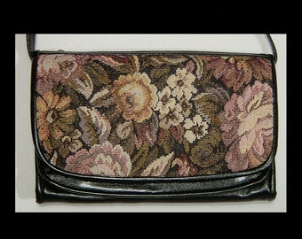 New jet black vinyl tapestry fabric clutch purse ~ metallic lilac purple floral gold ~ 5 pockets & opt strap 1950s shoulder bag as is 50s