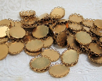 12x10 Oval Lace Edge Flat Back Brass Setting Quantity 70