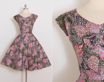 Vintage 50s Dress | Marcel Fashions 1950s dress | colorful floral rhinestone cotton medium | 5828