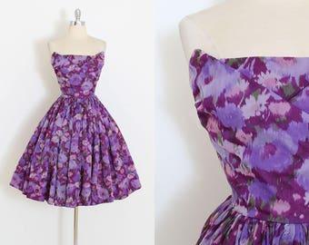 Vintage 50s Dress | 1950s dress | purple floral chiffon strapless | xs/s | 5912