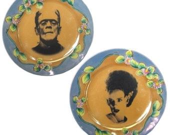 """Frankenstein and Bride Vintage Plate Set 7.5"""""""