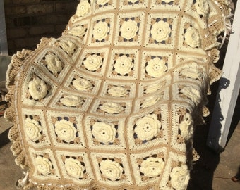 Soft White Ivory Rose Blanket Throw Floral Afghan - 35 Squares - Ready to ship