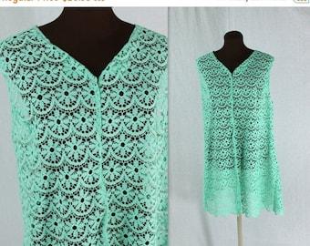50% OFF SALE Vintage 1960s Aqua Colored Lace Tent Dress
