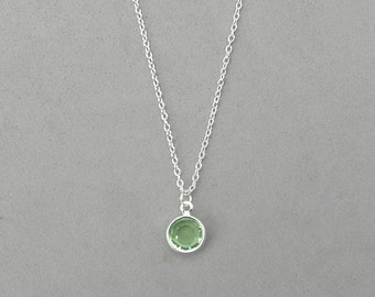 8 mm August Birthstone- Peridot Drop Necklace
