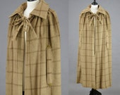 1910s Antique Wool Cape, Edwardian Cloak with Floral Cotton Lining