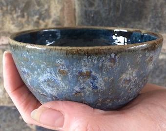 Gorgeous blue chopstick sushi rice bowl pottery ceramic handmade