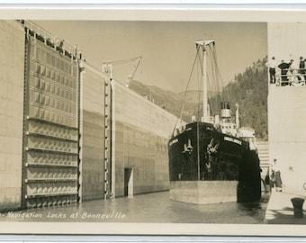 Boat Steamship Navigation Locks Bonneville Oregon 1940s RPPC real photo postcard