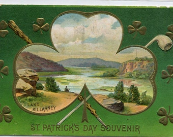 St Patrick's Day Holiday Greeting Lake Killarney Ireland 1910 postcard