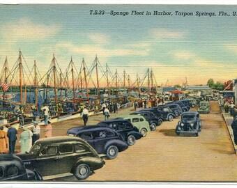 Sponge Fishing Fleet Boats Cars Tarpon Springs Harbor Florida 1940s postcard