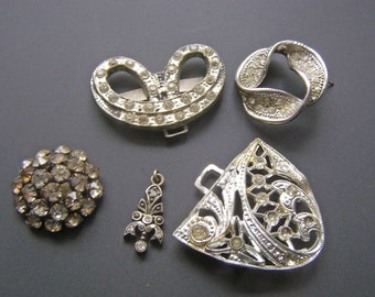 Vintage Jewelry Repair Craft Lot, Rhinestone Buckle Earring Button, Marcasite Pendant,