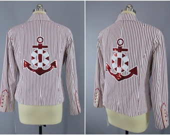 Nautical Sequined Anchor Jacket / Red Pinstripe Blazer / Sequin Embroidery / Size Large L
