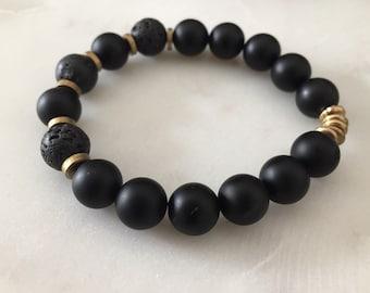 Black Beaded Braceket - Onyx - Lava Bead Bracelet - Handmade