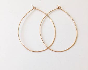 Simple Rose Gold Hoops - Handmade - 14K Rose Gold Filled