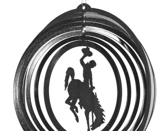 U of Wyoming WYO Cowboys Cowgirls Bucking Bronco Black Mini Swirly Metal Wind Spinner