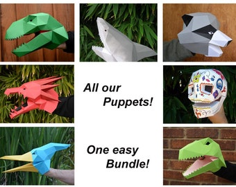 DIY Hand Puppet Pack - Make Your Own Dragon, T-Rex, Shark, and More! Over 50% off!