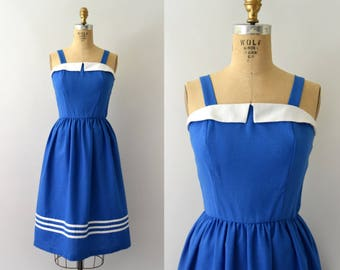 Vintage 1970s Sundress - 70s Blue Nautical Summer Sun Dress