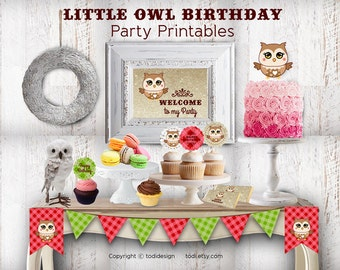 Little Owl Birthday Party Printables Instant DOWNLOAD PDF files