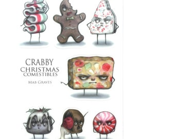 Crabby Comestibles Sticker Sheet - by Mab Graves