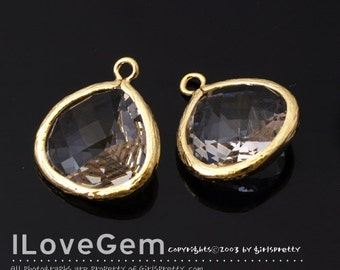 P2565 L-size, Glossy Gold plated, Clear, Glass fancy drop 15.5mm, 2pcs