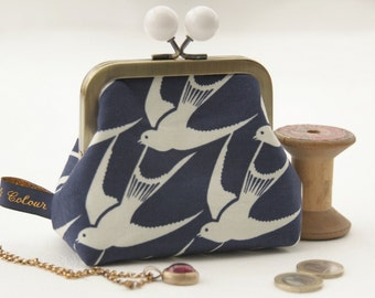 Bronze metal frame coin purse/ jewelry purse/white bobbles/white birds on blue/Cotton and Steel