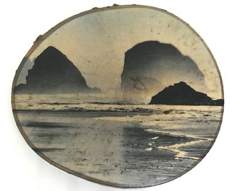 "Cannon Beach Natural Wood Round 4"" Photo Transfer - Photography Rustic Art"