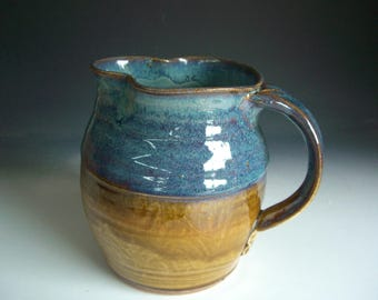 Hand thrown stoneware pottery pitcher    (P-91)