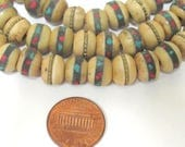 10 beads - 10 mm Tibetan brownish color ethnic bone beads with turquoise brass coral inlay - Nepal beads - ML100B