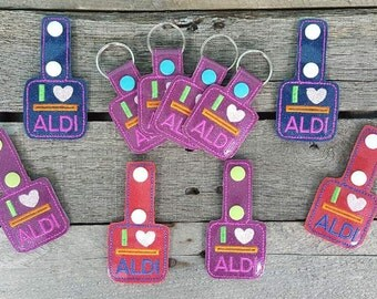 glitter Aldi quarter keeper keyring lots of colors available sparkle