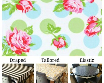 Laminated cotton aka oilcloth tablecloth custom size and fit choose elastic, tailored or draped, Tanya Whelan scattered roses blue