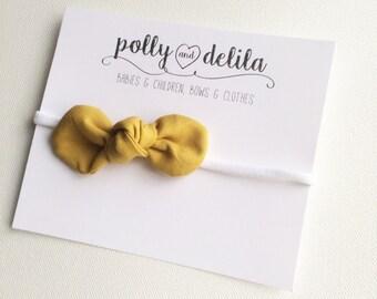 mustard knot bow headband