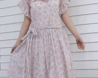 Sheer Floral Dress Retro Country S