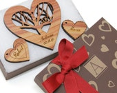 "Engraved Wedding Ornament Gift Set with Monogram Box - Personalized Cedar ""Rooted Heart"" - Timber Green Woods - Made in the USA!"