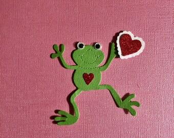 Valentine - Happy Frog  - Glittered Heart -Die Cut