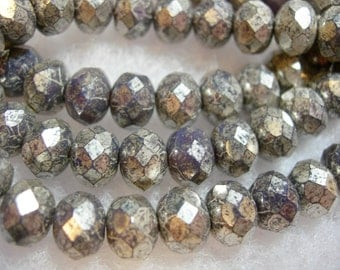25 beads - 8x6mm Purple Silver Wash Czech Fire polished Rondelle beads