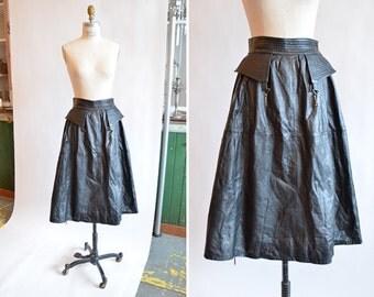SALE / Vintage 1980s full LEATHER skirt