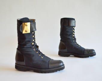 Vintage 1980s DESIGNER leather combat boots / 5.5