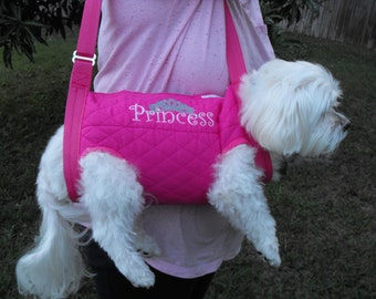 """Ouilted Pet Sling Carrier in Fushia """"Princess"""""""