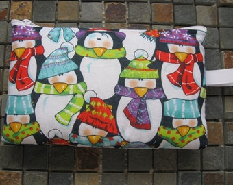 winter penguins print large padded bag