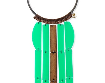 Long Statement Necklace, Green Waterfall Necklace, Unique Necklace for women, Modern Geometric choker, green and wood, Original jewelry