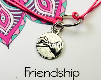 Friendship Charm Bracelet - Pinky Swear Girlfriends Bracelet -Best Friend - Friends Gift -Cord Bracelet -INT 013