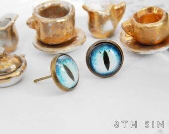 Antique Bronze and Blue Dragon Eye Stud Earrings, Blue Dragon Eye Earrings, Bronze Dragon Eye Earrings, Sapphire Dragon Eye Earrings