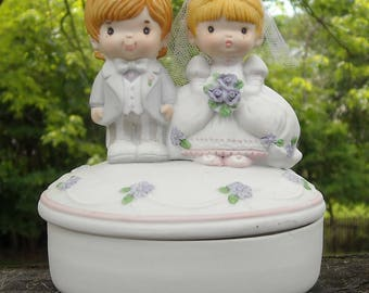 1986 Precious Moments Happily Ever After Trinket Box Cake Topper