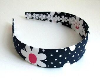 Preppy Girls Fabric Headband, Navy Blue Polka Dot Daisy Wide Fabric Covered Plastic Headband