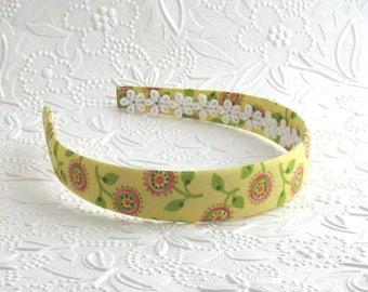 Fabric Covered Headband ~ Yellow Floral Girls Headband ~ Plastic Headband ~ Girls, Adults, Women
