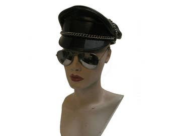 1970s Motorcycle Cruiser Cap Vintage Muir Heavy Black Leather Old School Leather Man Biker Cap with Chain  Fits a Size 6 7/8 or a Sz Small