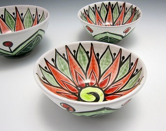 Majolica Pottery - Small Ceramic Cereal Bowl - Red Green Lotus Flower -  Clay Kitchen Bowl - Mandala Pattern - Gift for Mom - Decorative