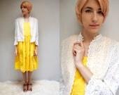 White Eyelet Cotton Shrug  //  Eyelet Lace Jacket  //  70s Cropped Jacket  //  THE IMAGENE