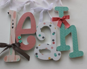 Wooden Letters, Girls Nursery, Boho Baby, Tribal Style Decor, LEAH'S THEME, Coral Aqua and Grey, Arrows and Feathers, Geometric, Girly Baby