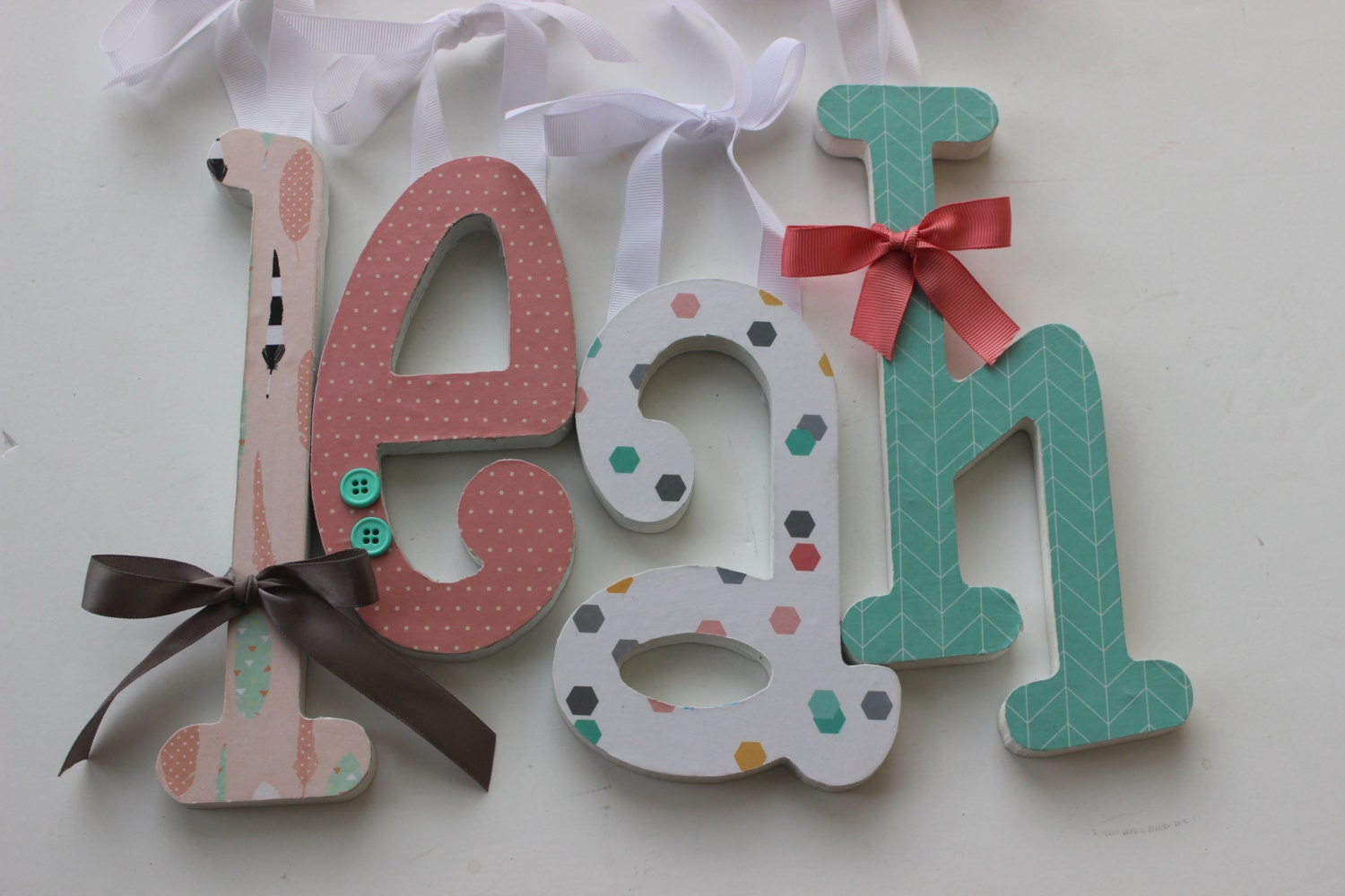 Wooden Letters Girls Nursery Boho Baby Tribal Style Decor