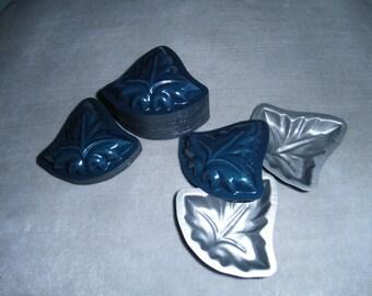 Set of Blue Enamel Metal Leaf Candy Molds, Marzipan, Maple
